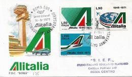 Fdc Roma: ALITALIA 1971; Viaggiata; AS_Roma - 6. 1946-.. Repubblica