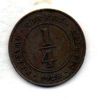 CYPRUS, 1/4 Piastre, Bronze, Year 1926, KM #16 - Chipre