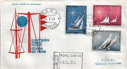 Fdc Venetia: MONDIALI DI VELA 1965; Raccomandata; AF_Roma - 6. 1946-.. Repubblica
