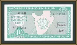 Burundi 10 Francs 1989 P-33 (33b.3) UNC - Burundi