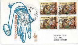 Fdc Venetia: Pro Hanseniani (1979) QUARTINA Viaggiata In Italia - 6. 1946-.. Repubblica