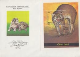Enveloppe  FDC  1er  Jour    MADAGASCAR    Bloc  Feuillet     Chat   Doré    1986 - Madagascar (1960-...)
