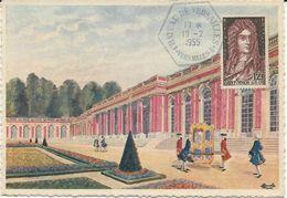 CARTE POSTALE 1955 AVEC GRAND CACHET HEXAGONAL BLEU CHATEAU DE VERSAILLES - Marcophilie (Lettres)