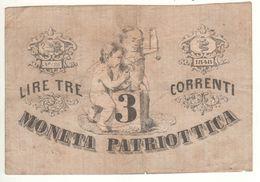 ITALY  Moneta Patriottica   3  Lire  1848 - [ 4] Emissions Provisionelles