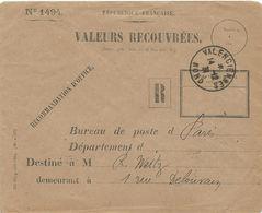 ENVELOPPE VALEURS RECOUVREES 1931 AVEC CACHET VALENCIENNES NORD - Marcophilie (Lettres)