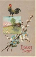 Easter Greeting Card With Rooster, Spring Landscape And Flowers, Austrian Postcard, 1910s - Pâques