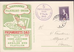 ODENSE Frimærkets Dag Vignette 1943 Card Karte Journée Du Timbre Tag Der Briefmarke Red Cross Rotes Kreuz Croix Rouge - Briefe U. Dokumente