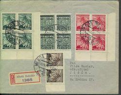 Böhmen Und Mähren #4 Viererblock + 21 (2x),22,23 (je Eckrand-4erBlock) Überdruckausgabe Mlada Boleslav 18.9.39 - Storia Postale