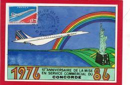 Carte ( 10° Anniversaire De La Mise En Service Commercial Du CONCORDE ) - Sellos