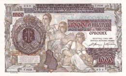 1000 Dinara 1941 UNC !!!! Occupation Of Serbia ! - Serbia