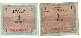 ITALY    AM Lire  Coppia 1 Lira   BEP & FLC    1943   ( WWII ) - Ocupación Aliados Segunda Guerra Mundial