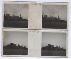 Lot De 2 Plaques De Verre Stéréo - New York Vue Du Large - Plaques 4,5 X 10,5 Cm - Plaques De Verre