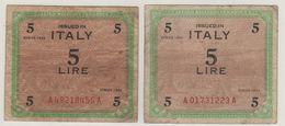 ITALY    AM Lire  Coppia 5 Lire   BEP & FLC    1943   ( WWII ) - [ 3] Emissioni Militari