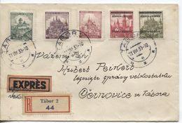 Böhmen Und Mähren #12,13 +26-28 Überdruckausgabe Auf Einschreibe-Eilboten-Fernbrief Tabor 11.8.39 > Cernovice. - Storia Postale