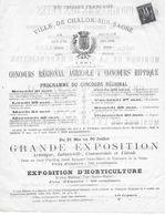 CHALON SUR SAONE 1881 CONCOURS REGIONAL AGRICOLE ET HIPPIQUE - PROGRAMME - TYPE SAGE - Pubblicitari