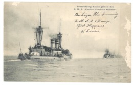 """Brandeburg - Klasse Geht In See S.M.S. """"Kurfürst Friedrich Wilhelm. Briefstempel Kaiserliche Marine 1915 (9425) - Guerre"""