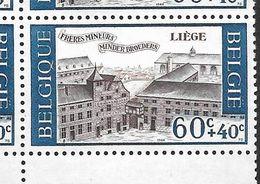 1385-V En Bloc De 10 Timbres Coins De Feuille - Variété V  P1 T2 Neige Sur Le Toit  (Alb. Noir N° 37) - Variétés Et Curiosités