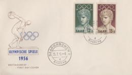 Enveloppe  FDC   1er   Jour    SARRE     JEUX   OLYMPIQUES   De   MELBOURNE   1956 - Verano 1956: Melbourne