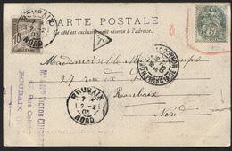 TP 5c Blanc Non Valable S/CP De MONACO 1903 + Taxe 10c Obl. ROUBAIX (x174) - 1900-29 Blanc