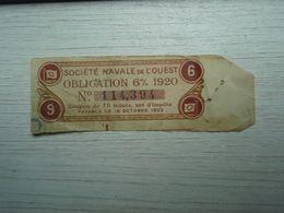 Société Navale De L'Ouest Coupon Obligation 1920 - Acciones & Títulos