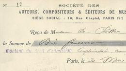 SOCIETE AUTEURS COMPOSITEURS RECU DE 1940 - Alte Papiere