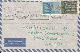 Greece Air Mail Cover Sent To Sweden Rodos 18-8-1969 - Airmail