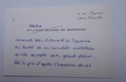 Comte Et Comtesse DE BENNETOT - Versailles - Tarjetas De Visita
