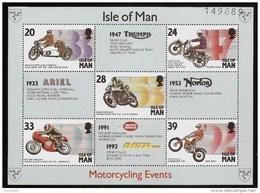 ISLE Of MAN 1993 - Motorcycling: DRIVER And Their MACHINES - Bloc 19 5v Mi 550-554 MNH ** Cv€5,50 N272 - Man (Insel)