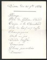 Menu Manuscrit Diner Du 21 Septembre 1882 - Menu écrit Dans Un Marque-place - Menú