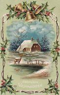 AK Fröhliche Weihnachten - Bauernhaus Reh Glocken Stechpalme - Reliefdruck - Soldatenbrief Vignette - 1908 (51150) - Other