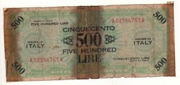 ITALY    AM Lire   500 Lire   FLP   1943A  ( WWII )  2nda Serie - [ 3] Emissioni Militari