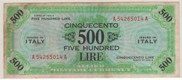ITALY    AM Lire   500 Lire   FLP   1943A  ( WWII )  2nda Serie - Ocupación Aliados Segunda Guerra Mundial
