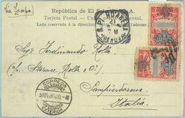 86099 - EL SALVADOR - POSTAL HISTORY - POSTCARD To ITALY Sanpierdarena 1908 - Salvador