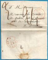 (T-044) Belgique - Précurseur - LSC Du 11/11/1845 De HUY (en Rouge) Vers BREUST (MAASTRICHT En Rouge) - 1830-1849 (Independent Belgium)