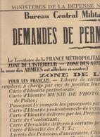 Guerre De 1939/40, Affiche 63 X 50 Demandes De Permis De Circulation 1er Novembre 1939 (6 Scans) - Documents Historiques