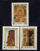 Polynésie N° 195/97 XX Sculptures Religieuses, Les 3 Valeurs Sans Charnière, TB - Non Classés