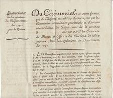 Révolution  Circulaire Neuve Cérémonial à Observer Pour Les Opérations Du Département 1790 (2 Scans) - Documenti Storici