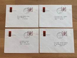 POST4 31-12-76 4 Lettres Avec Timbre Militaire 3,25FB N° Planche 1-2-3-4 TB Sergent Major Vers Famille De Courcelles - Military (M Stamps)