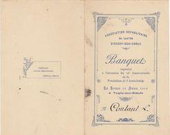 Saône Et Loire, Ecury-sur-Coole, 1914 : Banquet Républicain  25è Anniversaire (2 Scans) - Documenti Storici