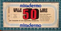 Saponetta MIRADERMO Coupon Buono Sconto 50 Lire ITALIA Pubblicità - 1976 - Publicidad