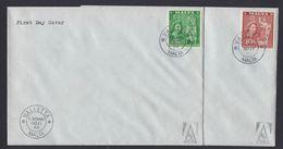 Rare 2 Malta First Day Covers Complete 11 October 1956 19 November 1956 Queen Elizabeth II 5/- 10/- Definitive Issue - Malta