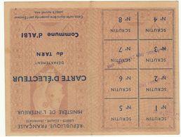 Tarn, Albi, Carte D'électeur  (électrice) 1953 - Documenti Storici