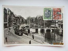 AMSTERDAM ROKIN , TRAM ,  SCOUTING JAMBOREE 1937 TO ESTONIA , OLD POSTCARD   , O - Amsterdam