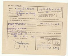 Tarn Albi Carteur électeur Sécurité Sociale 1962 - Documenti Storici