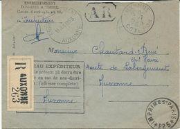 LETTRE RECOMMANDEE 1953 AVEC CACHET HOROPLAN AUXONNE ENREGISTREMENT - Marcophilie (Lettres)