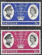 Antigua  1966  Sc#161-2 Royal Visit Set  MNH   2016 Scott Value $3.80 - 1858-1960 Colonia Británica