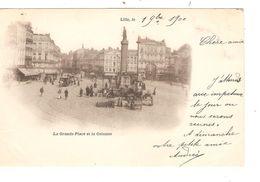 REF1445/ France CP Lille La Grande Place Et La Colonne Animée , Un Marché Aux Fleurs Et Le Tram Hippomobile - Lille
