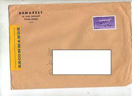Lettre Recommandée Paris Sur Wibault - Marcophilie (Lettres)