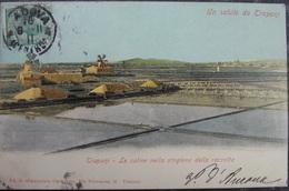 ITALY ITALIA Cartolina 1911 TRAPANI Le Saline Nella Stagione Della Raccolta - Sicilia - Trapani