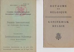 Belgique, Permis De Conduire International 1948 + Certificat D'immatriculation. Voir Les Scans. - Documenti Storici